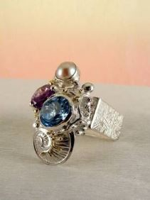 Original Handmade by Artist Designer Maker, Gregory Pyra Piro One of a Kind Original #Handmade #Sterling #Silver and #Gold, Jewellery in #London, #Art Jewellery, #Jewellery Handcrafted by #Artist, #Amethyst and Blue Topaz #Ring 2855