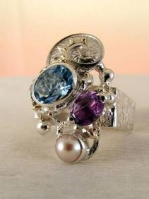 gregory pyra piro one of a kind square #ring in sterling silver and gold with gemstones, art jewellery, new jewellery in London, jewellery handcrafted by artist