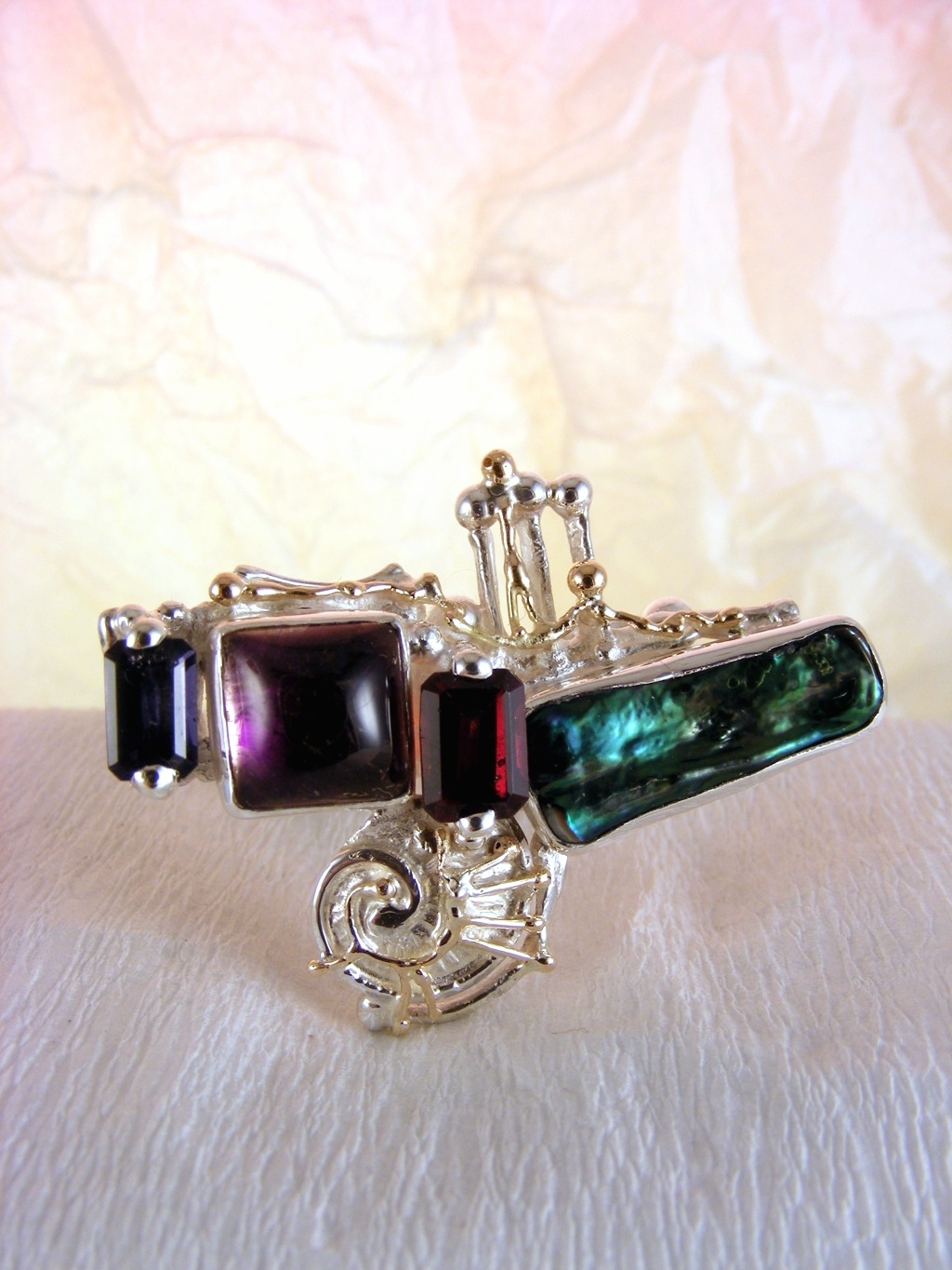 One of a Kind Gregory Pyra Piro Square Ring in Sterling Silver and 14 Karat Gold with Amethyst, Garnet, Iolite, and Pearl