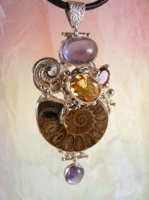 where to buy artisan soldered and reticulated mixed metal jewellery, how to buy artisan reticulated and soldered silver and gold jewellery with gemstones, Bespoke Jewellery with Semi Precious Stones, #Ammonite #Pendant 6852