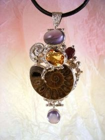 where to buy artisan soldered and reticulated mixed metal jewellery, Gregory Pyra Piro One of a Kind Original #Handmade #Sterling #Silver and #Gold, Bespoke Jewellery with Semi Precious Stones, #Ammonite #Pendant 6852