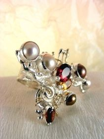 one of a kind jewellery, handmade artisan jewellery, mixed metal artisan jewellery, artisan jewellery with gemstones and pearls, #Ring 3627