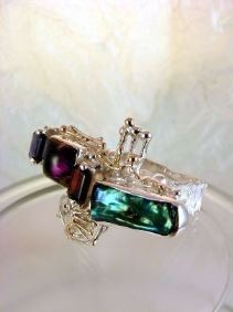 RT or Repin this Now Gregory Pyra Piro One of a Kind Original #Handmade #Sterling #Silver and #Gold #Amethyst and #Garnet #Ring 7439