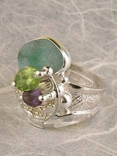 one of a kind jewellery, handmade artisan jewellery, mixed metal artisan jewellery, artisan jewellery with gemstones and pearls, Band #Ring 2943