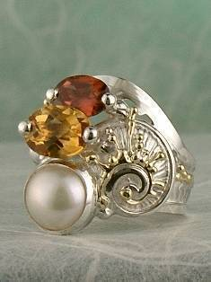 one of a kind jewellery, handmade artisan jewellery, mixed metal artisan jewellery, artisan jewellery with gemstones and pearls, Band #Ring 7482