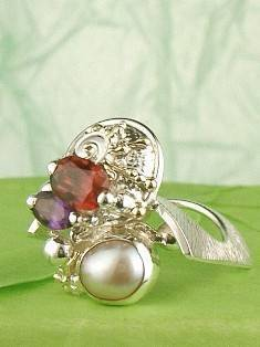 RT or Repin this Now Gregory Pyra Piro One of a Kind Original #Handmade #Sterling #Silver and #Gold #Amethyst and #Garnet #Ring 8582