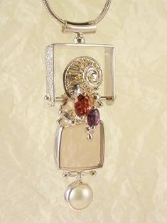 RT or Repin this Now Gregory Pyra Piro One of a Kind Original #Handmade #Sterling #Silver and #Gold #Amethyst and #Garnet #Pendant 1515