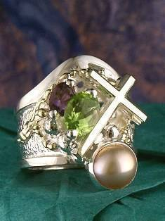 RT or Repin this Now Gregory Pyra Piro One of a Kind Original #Handmade #Sterling #Silver and #Gold #Amethyst and #Peridot #Ring 5924