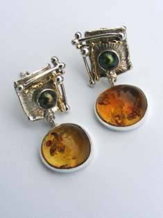 Original Handmade by Artist Designer Maker, Gregory Pyra Piro One of a Kind Original #Handmade #Sterling #Silver and #Gold, Jewellery in #London, #Art Jewellery, #Jewellery Handcrafted by #Artist, #Amber #Earrings 1825