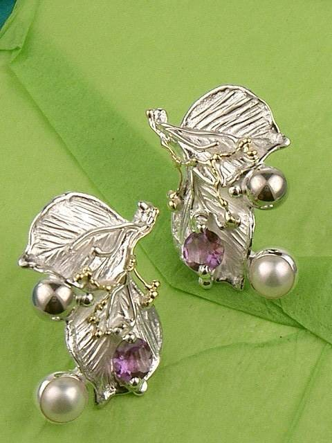 where to buy solder and reticulated mixed metal earrings, where to buy reticulated and soldered earrings with natural gemstones, Gregory Pyra Piro earrings 5031
