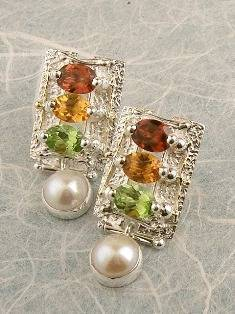 Original Handmade by Artist Designer Maker, Gregory Pyra Piro One of a Kind Original #Handmade #Sterling #Silver and #Gold, Jewellery in #London, #Art Jewellery, #Jewellery Handcrafted by #Artist, #Citrine and #Peridot #Earrings 7845