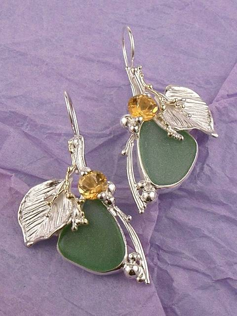 where to buy solder and reticulated mixed metal earrings, where to buy reticulated and soldered earrings with natural gemstones, Gregory Pyra Piro earrings #4580