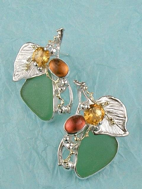 where to buy solder and reticulated mixed metal earrings, where to buy reticulated and soldered earrings with natural gemstones, Gregory Pyra Piro earrings #4570