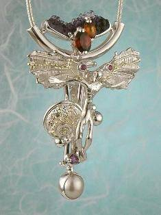 RT or Repin this Now Gregory Pyra Piro One of a Kind Original #Handmade #Sterling #Silver and #Gold #Amethyst and #Garnet #Pendant 3945