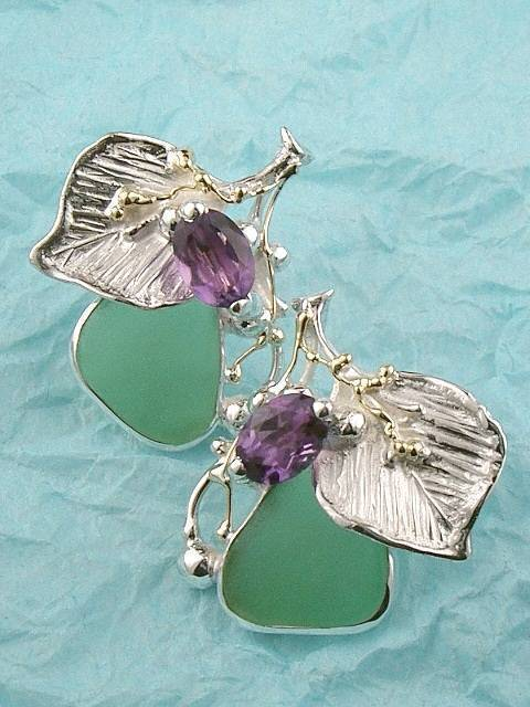 where to buy solder and reticulated mixed metal earrings, where to buy reticulated and soldered earrings with natural gemstones, Gregory Pyra Piro earrings 9439