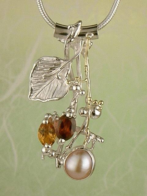 Original Handmade by Artist Designer Maker, Gregory Pyra Piro One of a Kind Original #Handmade #Sterling #Silver and #Gold, Jewellery in #London, #Art Jewellery, #Jewellery Handcrafted by #Artist, #Citrine and #Garnet #Pendant 2849