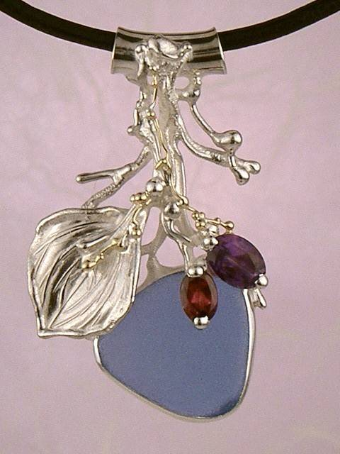 RT or Repin this Now Gregory Pyra Piro One of a Kind Original #Handmade #Sterling #Silver and #Gold #Amethyst and #Garnet #Pendant 4396