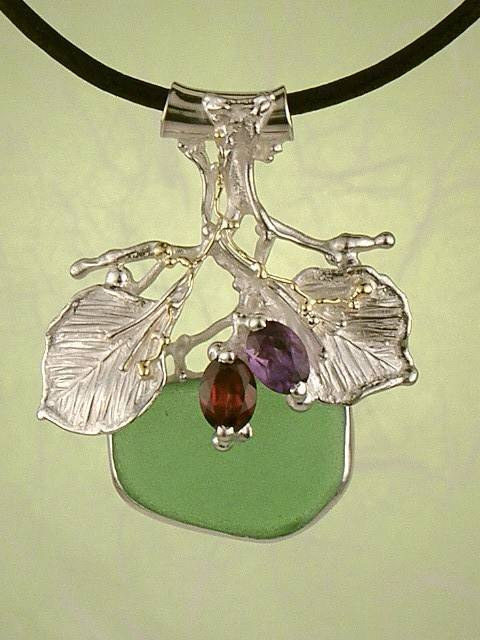 RT or Repin this Now Gregory Pyra Piro One of a Kind Original #Handmade #Sterling #Silver and #Gold #Amethyst and #Garnet #Pendant 4397