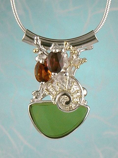 Original Handmade by Artist Designer Maker, Gregory Pyra Piro One of a Kind Original #Handmade #Sterling #Silver and #Gold, Jewellery in #London, #Art Jewellery, #Jewellery Handcrafted by #Artist, #Citrine and #Garnet #Pendant 3858