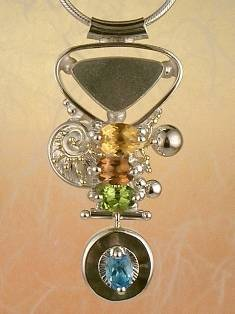 where to buy artisan soldered and reticulated mixed metal jewellery, how to buy artisan reticulated and soldered silver and gold jewellery with gemstones, mixed metal soldered and reticulated pendant 3843