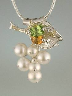 Original Handmade by Artist Designer Maker, Gregory Pyra Piro One of a Kind Original #Handmade #Sterling #Silver and #Gold, Jewellery in #London, #Art Jewellery, #Jewellery Handcrafted by #Artist, #Citrine and #Peridot #Pendant 3869