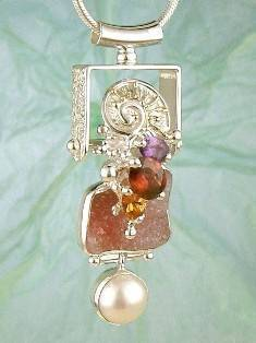 RT or Repin this Now Gregory Pyra Piro One of a Kind Original #Handmade #Sterling #Silver and #Gold #Amethyst and #Garnet #Pendant 5936