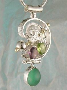 RT or Repin this Now Gregory Pyra Piro One of a Kind Original #Handmade #Sterling #Silver and #Gold #Amethyst and #Peridot #Pendant 8673