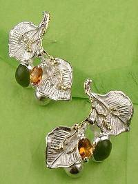 One of a Kind Gregory Pyra Piro Earrings in Sterling Silver and 18 Karat Gold with Citrine and Green Jade