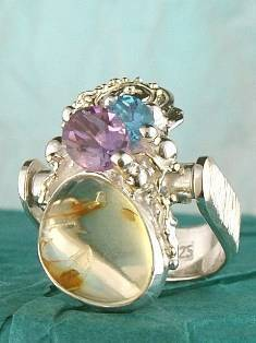 Original Handmade by Artist Designer Maker, Gregory Pyra Piro One of a Kind Original #Handmade #Sterling #Silver and #Gold, Jewellery in #London, #Art Jewellery, #Jewellery Handcrafted by #Artist, #Amber #Ring Pendant 6382