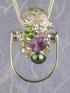 RT or Repin this Now Gregory Pyra Piro One of a Kind Original #Handmade #Sterling #Silver and #Gold #Amethyst and #Peridot #Ring Pendant 2512