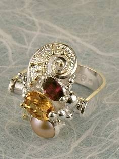 Original Handmade by Artist Designer Maker, Gregory Pyra Piro One of a Kind Original #Handmade #Sterling #Silver and #Gold, Jewellery in #London, #Art Jewellery, #Jewellery Handcrafted by #Artist, #Citrine and #Garnet #Ring Pendant 9829