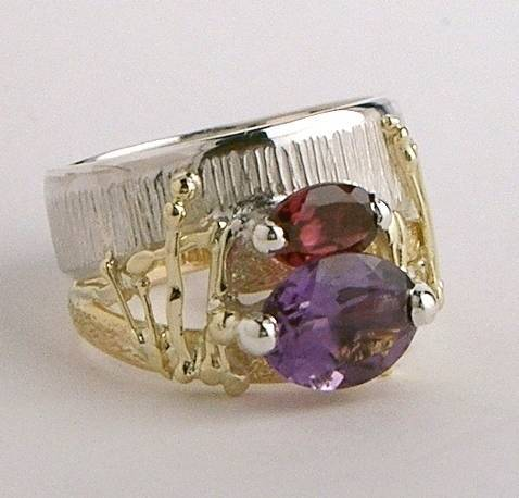 RT or Repin this Now Gregory Pyra Piro One of a Kind Original #Handmade #Sterling #Silver and #Gold #Amethyst and #Garnet #Ring 4275