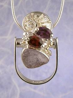 RT or Repin this Now Gregory Pyra Piro One of a Kind Original #Handmade #Sterling #Silver and #Gold #Amethyst and #Garnet #Ring Pendant 2937