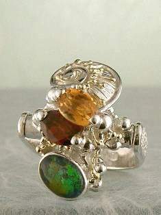 Original Handmade by Artist Designer Maker, Gregory Pyra Piro One of a Kind Original #Handmade #Sterling #Silver and #Gold, Jewellery in #London, #Art Jewellery, #Jewellery Handcrafted by #Artist, #Citrine and #Garnet #Ring Pendant 7834