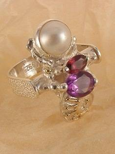 RT or Repin this Now Gregory Pyra Piro One of a Kind Original #Handmade #Sterling #Silver and #Gold #Amethyst and #Garnet #Ring Pendant 2853