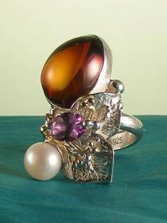 Original Handmade by Artist Designer Maker, Gregory Pyra Piro One of a Kind Original #Handmade #Sterling #Silver and #Gold, Jewellery in #London, #Art Jewellery, #Jewellery Handcrafted by #Artist, #Amber #Ring 9674
