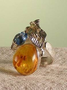 Original Handmade by Artist Designer Maker, Gregory Pyra Piro One of a Kind Original #Handmade #Sterling #Silver and #Gold, Jewellery in #London, #Art Jewellery, #Jewellery Handcrafted by #Artist, #Amber #Ring Pendant 9025