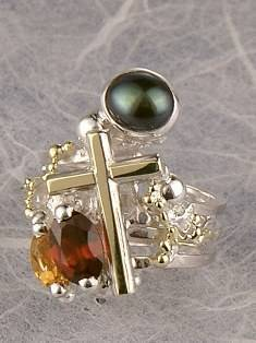 Original Handmade by Artist Designer Maker, Gregory Pyra Piro One of a Kind Original #Handmade #Sterling #Silver and #Gold, Jewellery in #London, #Art Jewellery, #Jewellery Handcrafted by #Artist, #Citrine and #Garnet #Ring 8674