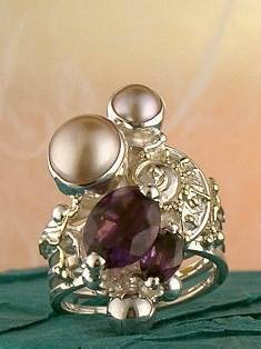 mixed metal soldered and reticulated ring, where to buy fine craft gallery mixed metal reticulated and soldered ring, Gregory Pyra Piro artisan reticulated and soldered ring 1825