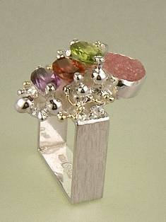 RT or Repin this Now Gregory Pyra Piro One of a Kind Original #Handmade #Sterling #Silver and #Gold #Amethyst and #Garnet #Ring 3894