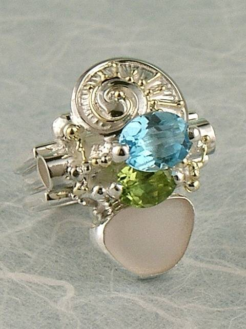 mixed metal soldered and reticulated ring, where to buy fine craft gallery mixed metal reticulated and soldered ring, Gregory Pyra Piro artisan reticulated and soldered ring 6043