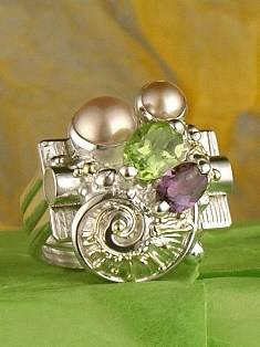 RT or Repin this Now Gregory Pyra Piro One of a Kind Original #Handmade #Sterling #Silver and #Gold #Amethyst and #Peridot #Ring 6839
