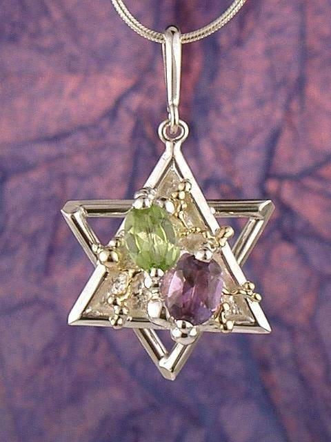 RT or Repin this Now Gregory Pyra Piro One of a Kind Original #Handmade #Sterling #Silver and #Gold #Amethyst and #Peridot #Pendant 5420