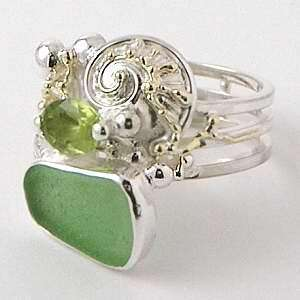 Spiral Rings, Sea Glass Rings, Handcrafted Rings