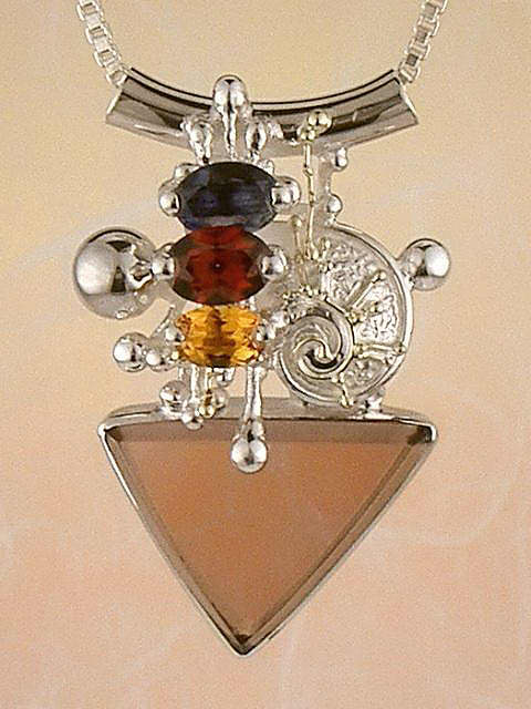 where to buy artisan soldered and reticulated mixed metal jewellery, how to buy artisan reticulated and soldered silver and gold jewellery with gemstones, mixed metal soldered and reticulated pendant 5374