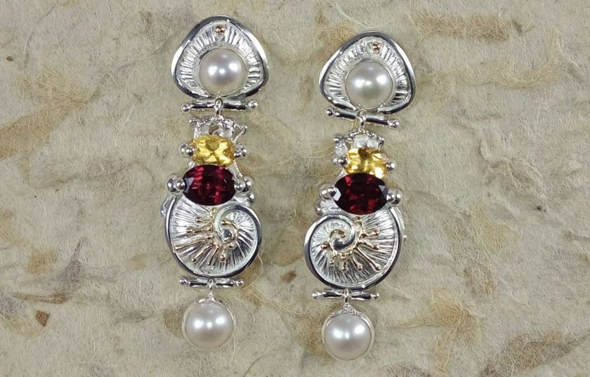 Earrings #2932, sterling silver and 14 karat gold, citrine, garnet, pearls, original handmade, one of a kind jewelry, Gregory Pyra Piro