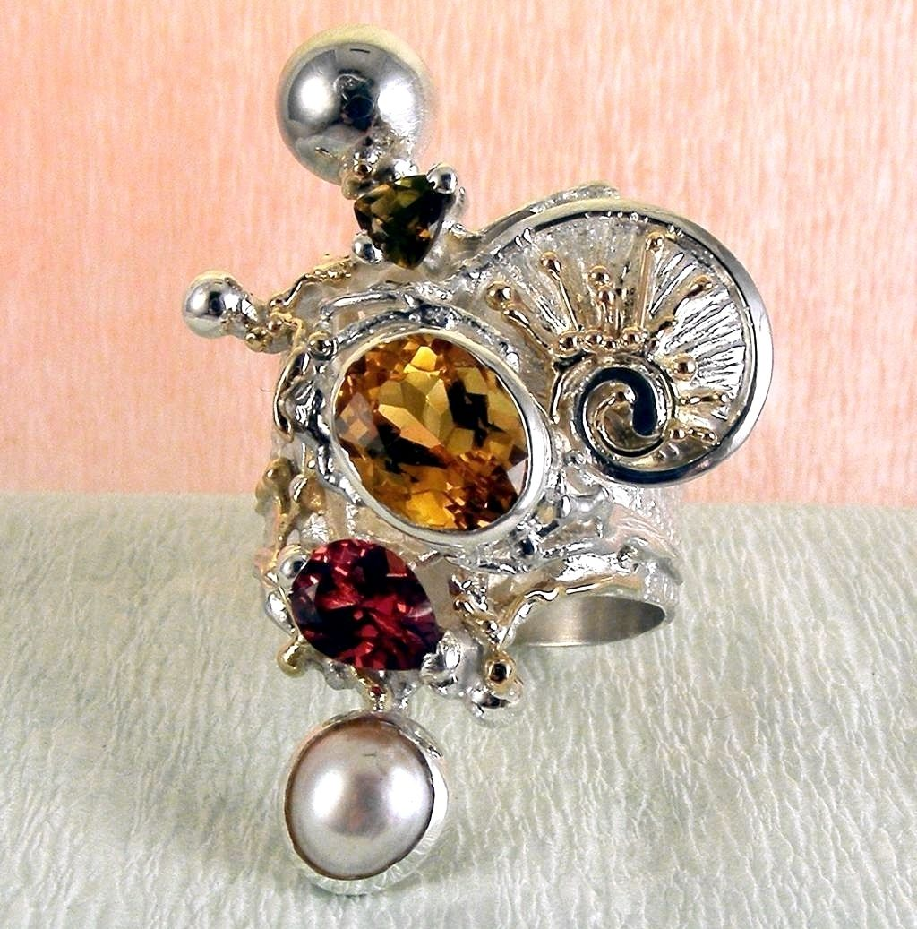 Ring #9435, sterling silver, gold, citrine, garnet, pearl, original handmade, one of a kind jewellery, art jewellery, Gregory Pyra Piro