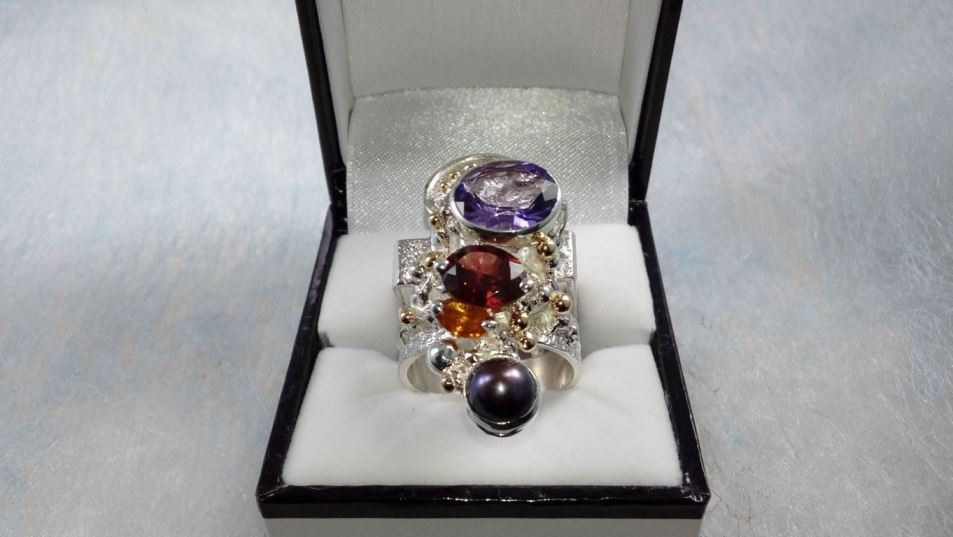 Ring #2631, sterling silver, gold, amethyst, garnet, citrine, pearl, original handmade, one of a kind jewellery, art jewellery, Gregory Pyra Piro