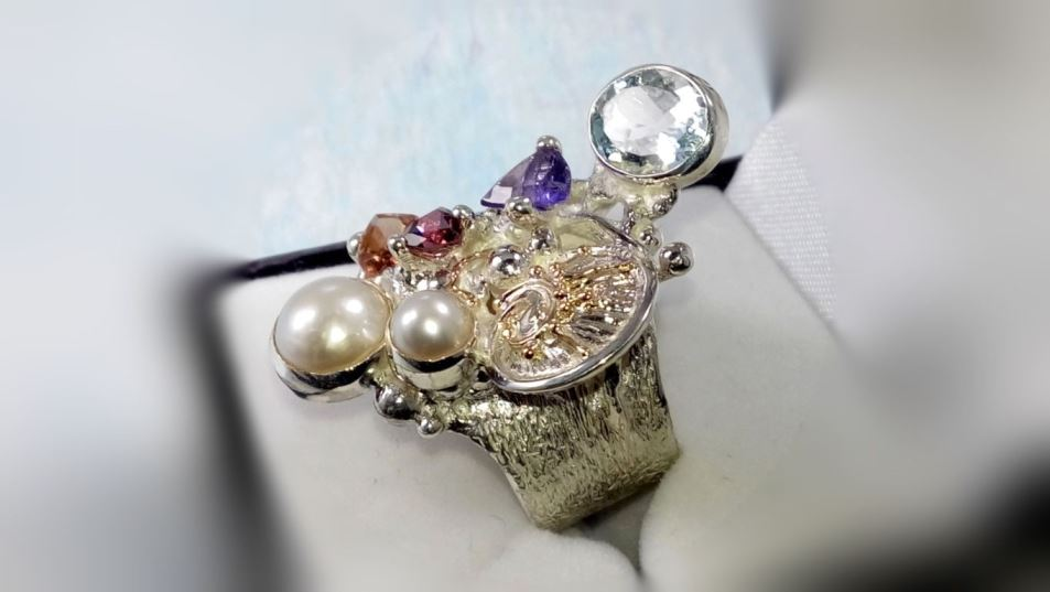 Ring with Tourmaline #2050, Original Handcrafted, Sterling Silver and Gold, Tourmaline, Garnet, Amethyst, Blue Topaz, Pearls