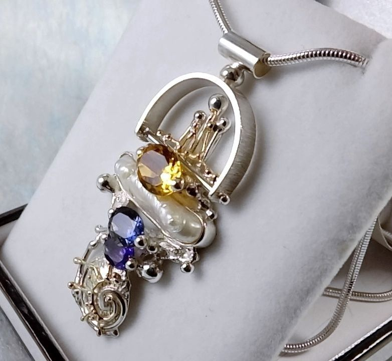 Pendant #2650, sterling silver, gold, amethyst, iolite, citrine, pearl, where to buy artisan soldered and reticulated mixed metal jewellery, Gregory Pyra Piro artisan soldered and reticulated jewellery